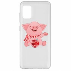 Чохол для Samsung A31 Funny pig with a Christmas toy