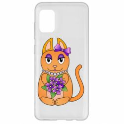 Чехол для Samsung A31 Girl cat with flowers