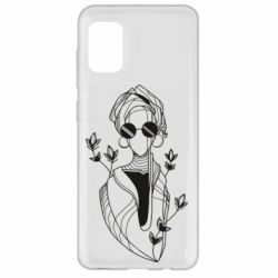 Чехол для Samsung A31 Girl in flowers and glasses