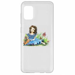 Чехол для Samsung A31 Girl with a kitten in flowers