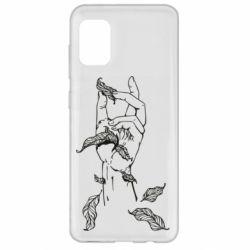Чохол для Samsung A31 Hand with leafs