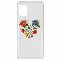Чехол для Samsung A31 Heart made of flowers vector