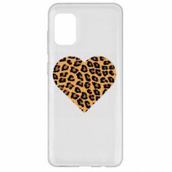 Чехол для Samsung A31 Heart with leopard hair
