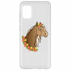 Чехол для Samsung A31 Horse and flowers art