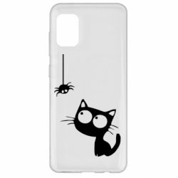Чехол для Samsung A31 Котик и паук