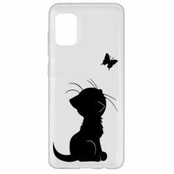 Чохол для Samsung A31 Котик з метеликом