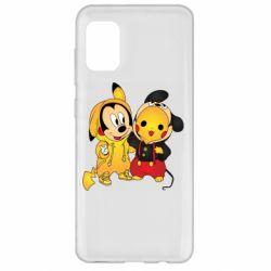 Чехол для Samsung A31 Mickey and Pikachu