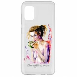 Чехол для Samsung A31 Naked girl with coffee