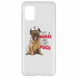 Чехол для Samsung A31 Nurse loves pugs
