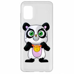 Чехол для Samsung A31 Panda with a medal on his chest