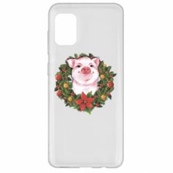 Чохол для Samsung A31 Pig with a Christmas wreath
