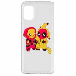 Чехол для Samsung A31 Pikachu and deadpool