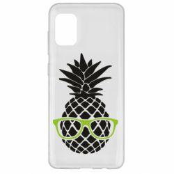 Чехол для Samsung A31 Pineapple with glasses