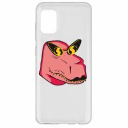 Чохол для Samsung A31 Pink dinosaur with glasses head