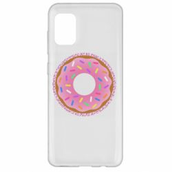 Чохол для Samsung A31 Pink donut on a background of patterns