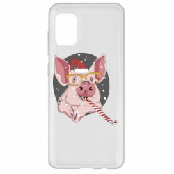 Чохол для Samsung A31 Portrait of the pink Pig in a red Santa's cap