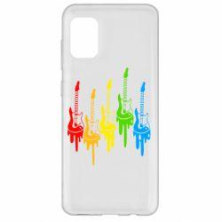 Чехол для Samsung A31 Разноцветные гитары
