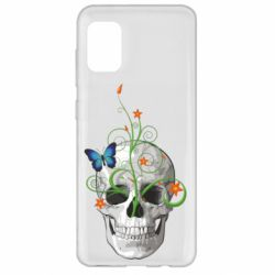 Чехол для Samsung A31 Skull and green flower
