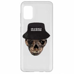 Чехол для Samsung A31 Skull in hat and text