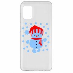 Чехол для Samsung A31 Снеговик в шапке