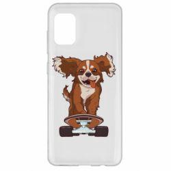 Чехол для Samsung A31 Собака Кавалер на Скейте