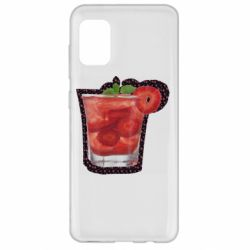 Чохол для Samsung A31 Strawberry cocktail on a background of flowers