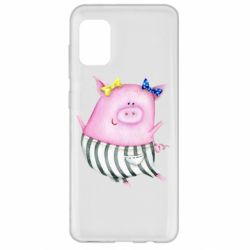 Чехол для Samsung A31 Watercolor Pig with paper texture