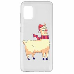 Чехол для Samsung A31 Yellow llama in a scarf and red nose
