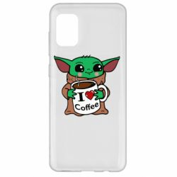 Чехол для Samsung A31 Yoda and a mug with the inscription I love coffee