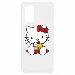 Чехол для Samsung A32 4G Kitty с букетиком
