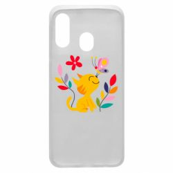Чехол для Samsung A40 Cat, Flowers and Butterfly