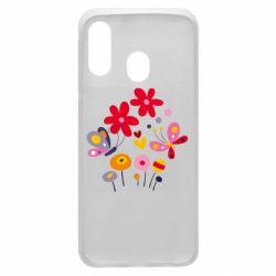 Чехол для Samsung A40 Flowers and Butterflies