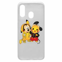 Чехол для Samsung A40 Mickey and Pikachu