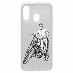 Чехол для Samsung A40 Mickey Rourke and the motorcycle
