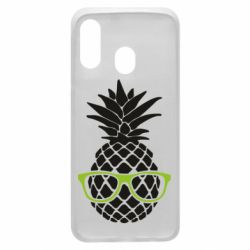 Чехол для Samsung A40 Pineapple with glasses