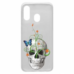 Чехол для Samsung A40 Skull and green flower