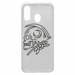 Чохол для Samsung A40 Skull with scythe