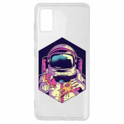 Чехол для Samsung A41 Astronaut with donut and pizza