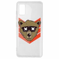 Чехол для Samsung A41 Bear with glasses