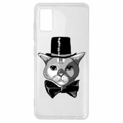 Чехол для Samsung A41 Black and white cat intellectual