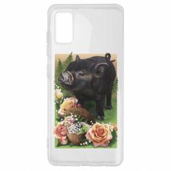 Чехол для Samsung A41 Black pig and flowers