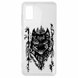 Чехол для Samsung A41 Black wolf with patterns