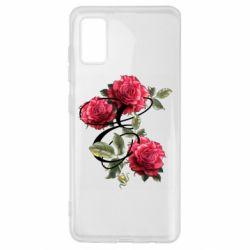 Чехол для Samsung A41 Буква Е с розами