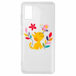 Чехол для Samsung A41 Cat, Flowers and Butterfly
