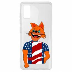 Чехол для Samsung A41 Cat in American Flag T-shirt