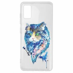 Чехол для Samsung A41 Cat in blue shades of watercolor