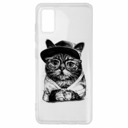 Чохол для Samsung A41 Cat in glasses and a cap