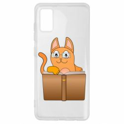 Чехол для Samsung A41 Cat in glasses with a book
