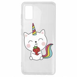 Чохол для Samsung A41 Cat unicorn and strawberries