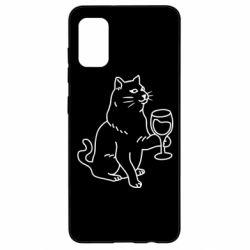 Чохол для Samsung A41 Cat with a glass of wine